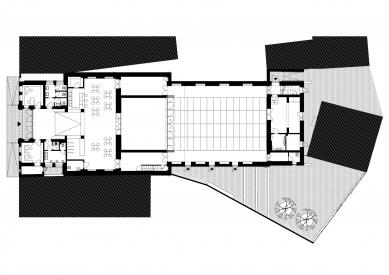 KINONEKINO - Půdorys 1.np - realizovaný návrh - foto: XTOPIX architekti s.r.o.