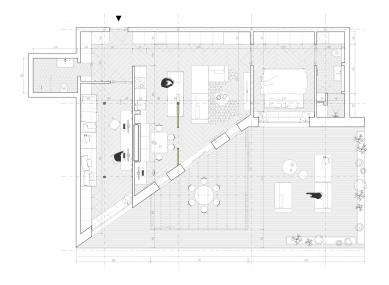 Byt na Trencianskej ulici - Půdorysy navrženého bytu - foto: Kuklica Smerek architekti