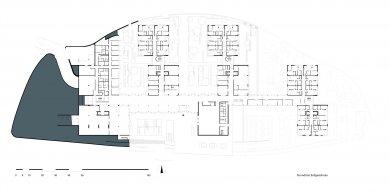 Rezidenční domov pro seniory Stuttgart-Killesberg - Půdorys suterénu - foto: Wulf & Partner