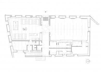 Rekonstrukce bývalé hospody se sálem v Máslovicích - Půdorys nového stavu - foto: Atelier bod architekti
