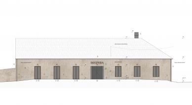 Rekonstrukce bývalé hospody se sálem v Máslovicích - Východní pohled - foto: Atelier bod architekti