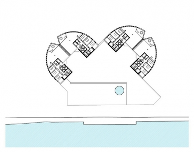 Bytové domy La Vista - Půdorys typického podlaží - foto: Mario Botta