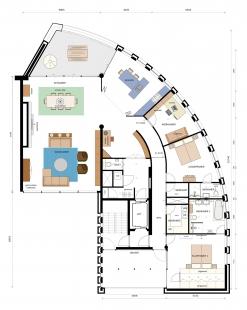 Bytové domy La Vista - Dispozice bytu - foto: Mario Botta