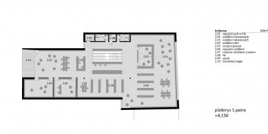Knihovna a společenské centrum Úvaly - Půdorys 2NP