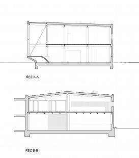Přístavba administrativní budovy firmy STORY DESIGN v Litomyšli - Řezy