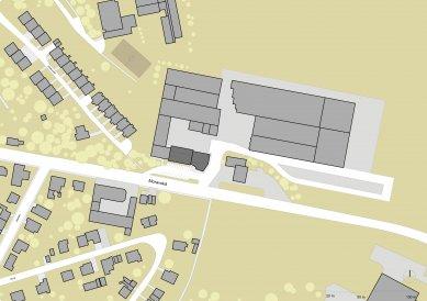Přístavba administrativní budovy firmy STORY DESIGN v Litomyšli - Situace