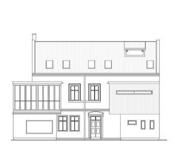 Dostavba a interiér kavárny Modrý domeček - Pohled z ulice