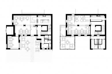 Dostavba a interiér kavárny Modrý domeček - Půdorysy