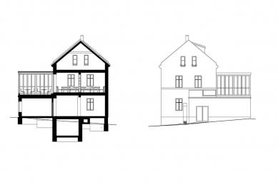 Dostavba a interiér kavárny Modrý domeček - Řez a pohled