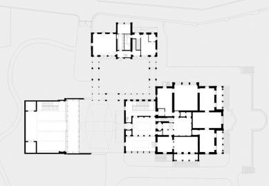 Přestavba a rozšíření muzea Rietberg - Půdorys přízemí - foto: Adolf Krischanitz