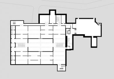 Přestavba a rozšíření muzea Rietberg - Půdorys 1.pp - foto: Adolf Krischanitz
