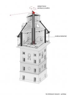 Rekonstrukce vodárenské věže s observatoří - Axonometrie věže - foto: Petr Hájek ARCHITEKTI
