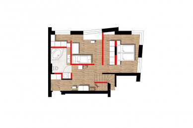 Interiér mezonetového bytu - Půdorys dolního podlaží bytu - foto: AEIOU