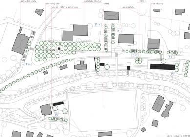Revitalizace návsi v Prostřední Bečvě - Situace - foto: henkai architekti