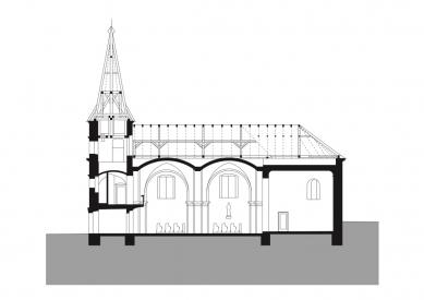 Rekonstrukce kostela Nanebevzetí Panny Marie v Mařaticích - Podélný řez - foto: knesl + kynčl architekti