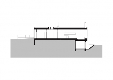 Rodinný dům Moravanské lány - Podélný řez - foto: knesl + kynčl architekti