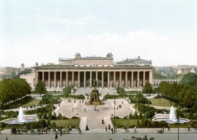 Altes Museum - Kresba muzea a lustgarten kolem roku 1900.