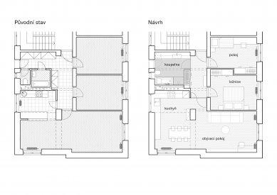 Úpravy bytu v Kobylisích - Půdorysy