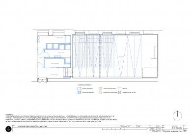 Konverze tělocvičny na multifunkční prostor se zázemím ve škole PORG - Půdorys navrhovaného stavu - foto: ARCHPORT