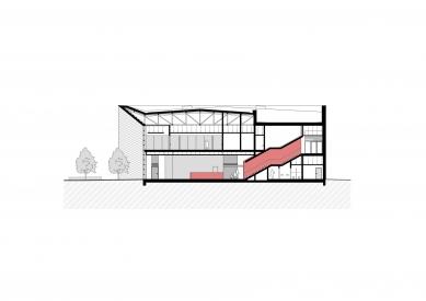Národní sportovní centrum v Prostějově - Řez c-c' - foto: atelier-r