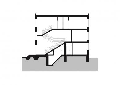 Rodinný dům Královo Pole 03 - Příčný řez - foto: knesl + kynčl architekti