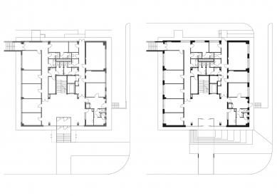 EGÚ Brno - Půdorys 1.np - původní stav a návrh - foto: knesl + kynčl architekti
