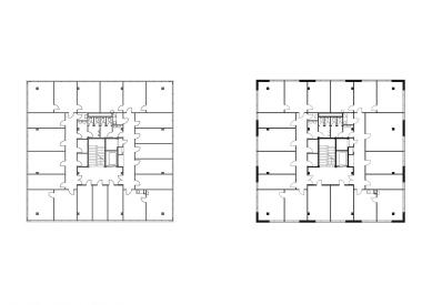 EGÚ Brno - Půdorys 3.np - původní stav a návrh - foto: knesl + kynčl architekti