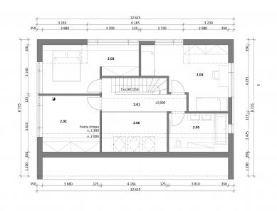 Rodinný dům Veterná Poruba - Půdorys 2NP