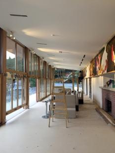 Oprava a obnova areálu kúpeľov Zelená žaba - reštaurácia 3.NP s drevenými výsuvnými oknami - foto: počas rekonštrukcie 2015