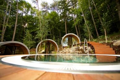 Oprava a obnova areálu kúpeľov Zelená žaba - pohľad saunový svet - foto: po rekonštrukcii august 2015