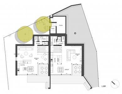 Dvojdom Plánky - Půdorys 1.pp - foto: Architekti.sk