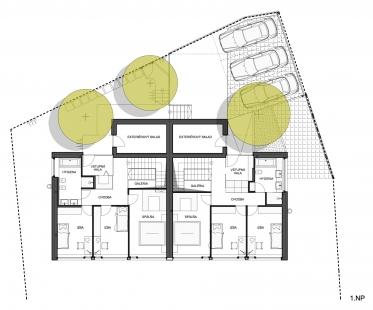 Dvojdom Plánky - Půdorys 1.np - foto: Architekti.sk