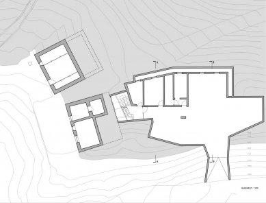 Rozšíření rodinného domu na farmě Felderhof - Půdorys suterénu - foto: Pavol Mikolajcak Architekt