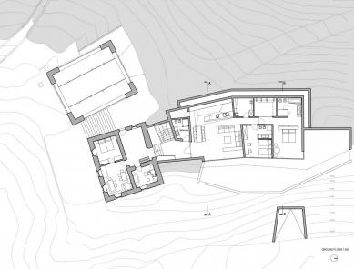 Rozšíření rodinného domu na farmě Felderhof - Půdorys přízemí - foto: Pavol Mikolajcak Architekt