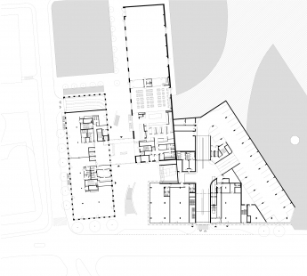 Nový kancelářský blok Palmovka III. a IV. v Libni - Půdorys 1NP