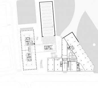 Nový kancelářský blok Palmovka III. a IV. v Libni - Půdorys 2NP