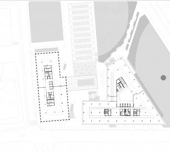 Nový kancelářský blok Palmovka III. a IV. v Libni - Půdorys 4NP