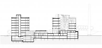 Nový kancelářský blok Palmovka III. a IV. v Libni - Řez