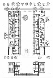Polyfunkční dům Leibnizkolonnaden - Půdorys přízemí a příčný řez - foto: Kollhoff Timmermann Architekten
