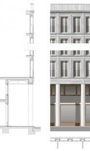 Polyfunkční dům Leibnizkolonnaden - Řez fasádou - foto: Kollhoff Timmermann Architekten