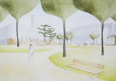 Revitalizace parku a náměstí Krakov - Skica - foto: Rusina Frei architekti