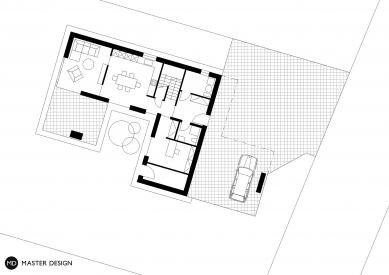 Rodinný dům, Levín u Berouna - Půdorys přízemí