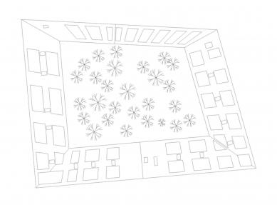 Eggenberge - bytový dům s obchody - Výkres střechy - foto: Pentaplan ZT GmbH