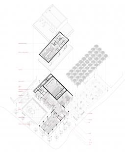 Spolkový dům Otava v Horažďovicích - Rozložená axonometrie - foto: Aoc
