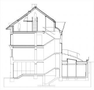 Rekonstrukce a dostavby objektu Závěrka 3 - řez - foto: 4A architekti