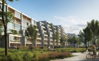 Residence Nádraží Žižkov - Fasáda s centrálním parkem - foto: RA15/Benthem Crouwel Architects