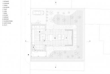 Villa 3 Shoebox - Výkres pozemku - foto: OFIS arhitekti