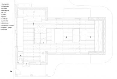 Villa 3 Shoebox - Půdorys 1.np - foto: OFIS arhitekti