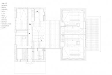 Villa 3 Shoebox - Půdorys 2.np - foto: OFIS arhitekti