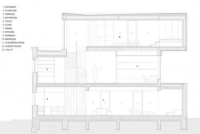 Villa 3 Shoebox - Řez a-a' - foto: OFIS arhitekti